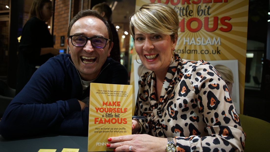 Penny Haslam and author Tom Cheesewright at the 'Make Yourself a Little Bit Famous' book launch