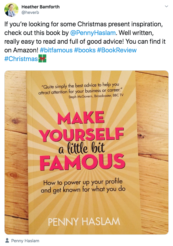 If you're looking for some Christmas present inspiration, check out this book by @PennyHaslam. Well written, really easy to read and full of good advice! You can find it on Amazon! #bitfamous #books #BookReview #Christmas